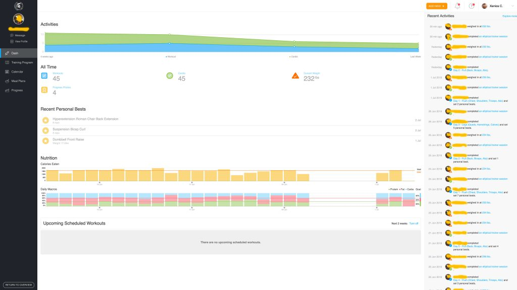 spartan coaching software dashboard